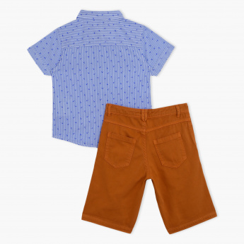 Juniors Shirt and Shorts Set with Bow
