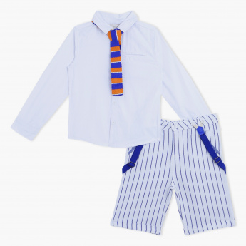 Juniors Printed Shorts with Shirt and Tie