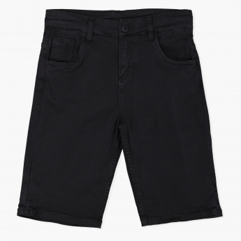 Posh Woven Bermuda Shorts with Button Closure