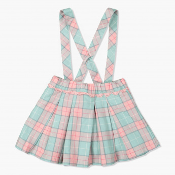 Eligo Chequered Dungaree Skirt
