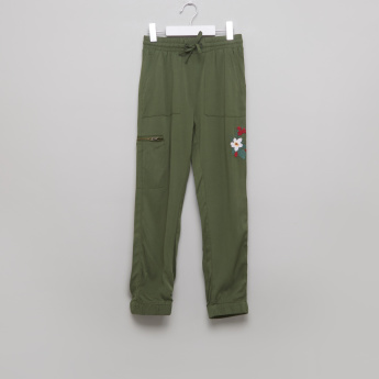 Juniors Embroidered Pants with Drawstring and Cuffed Hem