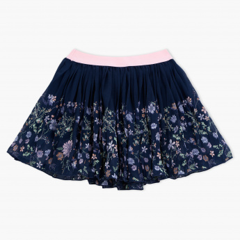 Juniors Printed Elasticised Waistband Skirt