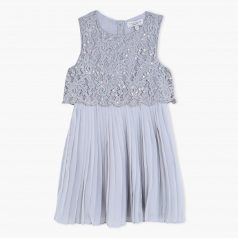 Juniors Pleated Lace Dress