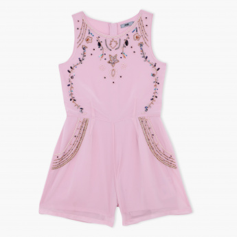 Posh Embellished Sleeveless Playsuit