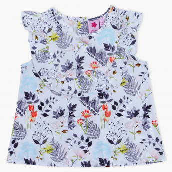 Juniors Printed Round Neck Top
