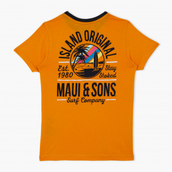 Maui and Sons Printed Round Neck T-Shirt