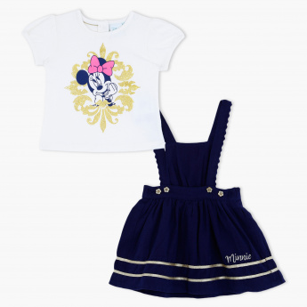 Minnie Mouse Print T-Shirt and Jumper Dress Set