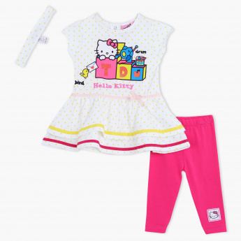 Hello Kitty Printed Dress and Leggings Set with Headband