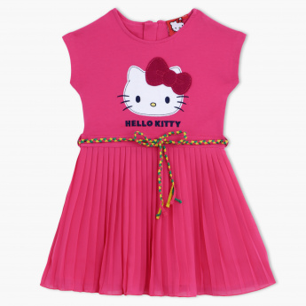 Hello Kitty Printed Round Neck Pleated Dress