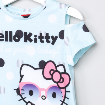 Hello Kitty Printed Cold Shoulder Top
