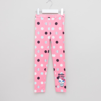 Hello Kitty Polka Dot Printed Leggings with Elasticised Waistband