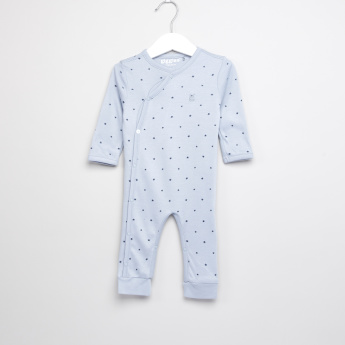 Giggles Star Printed Open Feet Sleepsuit