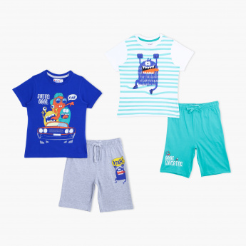 Juniors Printed T-Shirt and Shorts Set - Set of 2