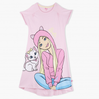 Barbie Printed Round Neck Short Sleeves Dress