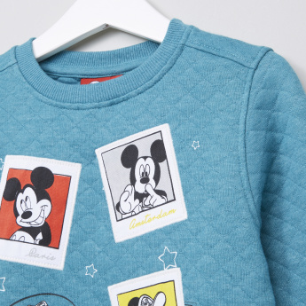Mickey Mouse Quilted Round Neck Long Sleeves Sweater