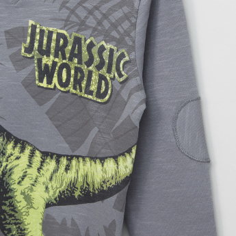 Jurassic World Printed Sweatshirt with Hood and Long Sleeves