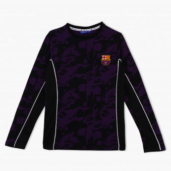 5c9ccf19a FC Barcelona Embroidered Round Neck Long Sleeves T-Shirt