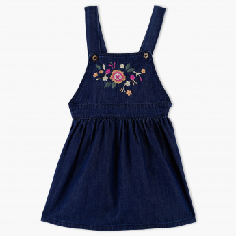 Juniors Embroidered Dungaree Dress