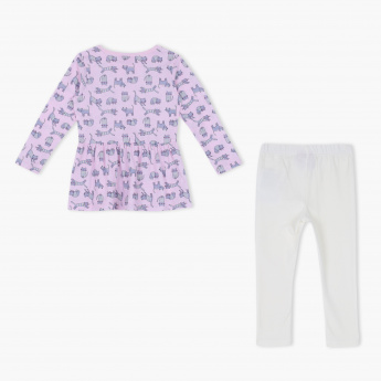 Juniors Printed T-Shirt and Leggings Set