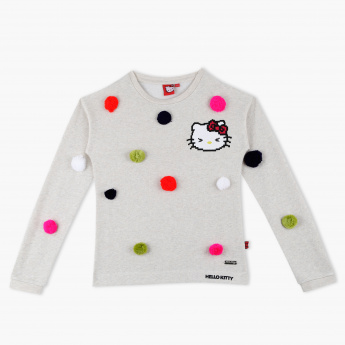 118ecaf03 Hello Kitty Embroidered Round Neck Long Sleeves Sweat Top | Cream |  Sweaters & Cardigans