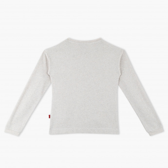 97d2deaec Hello Kitty Embroidered Round Neck Long Sleeves Sweat Top | Cream ...