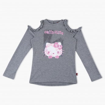 Hello Kitty Printed Cold Shoulder Long Sleeves Sweat Top