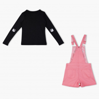 Hello Kitty Embroidered T-Shirt and Dungaree Set