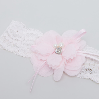 Giggles Lace Headband with Applique Detail