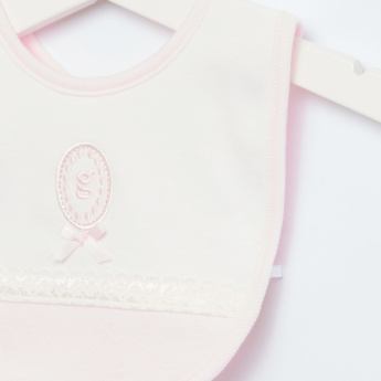 Giggles Embroidered Bib with Lace Detail