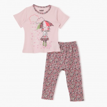 Juniors Floral Print Pyjama Set