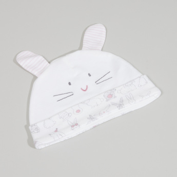 Juniors Bunny Embroidered Cap with Ear Appliques