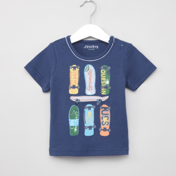 Juniors Graphic Printed T-shirt and Elasticated Shorts