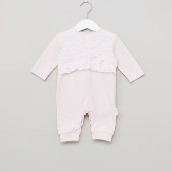 Giggles Lace Detail Open Feet Sleepsuit