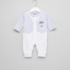 Giggles Mock Jacket Detail Textured Sleepsuit