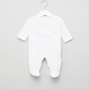 Giggles Plain Sleepsuit with Tiny Embellishment and Lace Detail