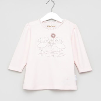 Giggles Embroidered T-Shirt with Polka Dot Printed Pyjamas