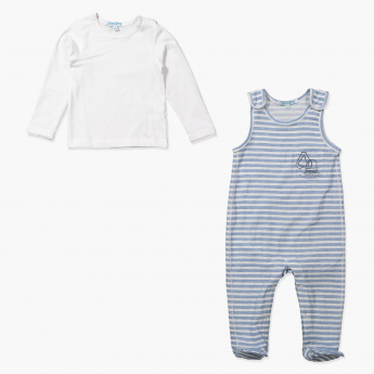 Juniors Striped Coverall and T-Shirt Set