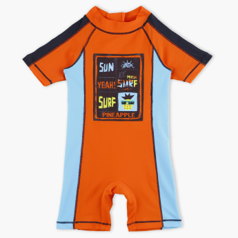 Juniors Printed Romper with Zip Closure