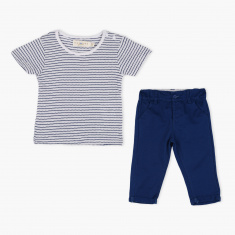 Juniors Striped T-Shirt and Pant Set