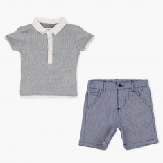 Juniors Textured T-Shirt and Shorts Set