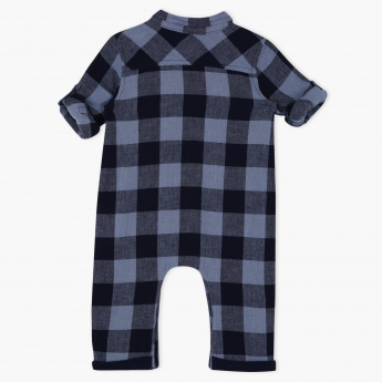 Giggles Chequered Roll Up Sleeves Romper