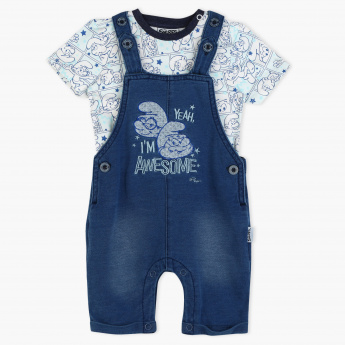 The Smurfs Printed T-Shirt and Dungaree Set
