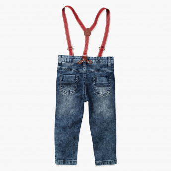 Juniors Full-Length Jeans and Suspenders Set