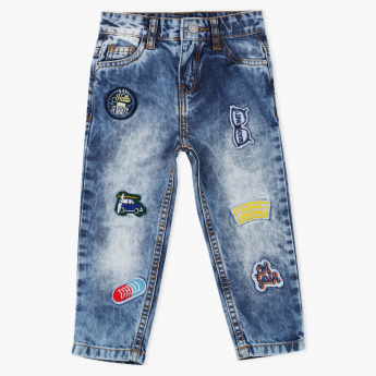 Juniors Applique Detail Full Length Jeans with Button Closure