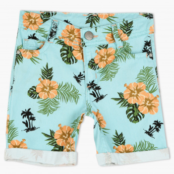 Juniors Printed Shorts with Button Closure