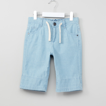 Juniors Denim Shorts with Pocket Detail and Button Closure