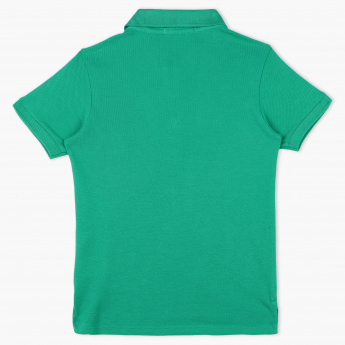 Juniors Textured Polo Neck Short Sleeves T-Shirt