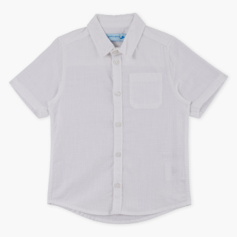 Juniors Spread Collar Short Sleeves Shirt