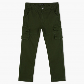Juniors Full Length Pants with Button Closure