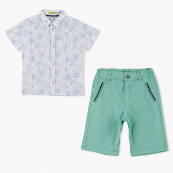 Juniors Printed Shirt and Shorts Set